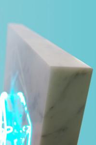 Molin Corvo gallery GABRIELE DAL DOSSO CUBO DI GABO–M³.M W1 - 2018 Carrara Statuary Marble and neon marble 60x60x6cm, neon 25x25cm Edition of 2 6000$ 3