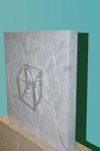 Molin Corvo gallery GABRIELE DAL DOSSO CUBO DI GABO–M³.M W1 - 2018 Carrara Statuary Marble and neon marble 60x60x6cm, neon 25x25cm Edition of 2 6000$ 5