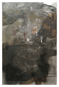 EmanueleRavagnani SENZA TITOLO (Black) Mixed media collage on canvas 2018 150X100cm