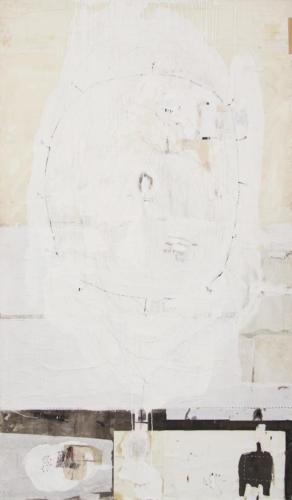Emanuele Ravagnani senza titolo n°1,2020, mix et collage sur toile 208x121cm