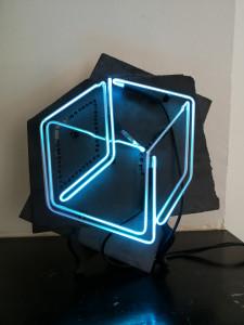 GABRIELE DAL DOSSO CUBO DI GABO – M³.N SW1  2018 NeonAndSlate slate 39x28cm neon 25x25cm Unique Piece