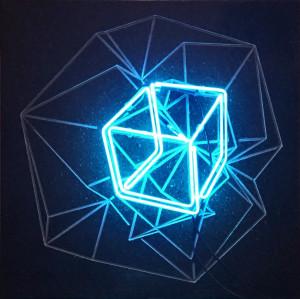 GABRIELE DAL DOSSO CUBO DI GABO M³.N W1 2017 Neon and lava stone 60X60X6cm.