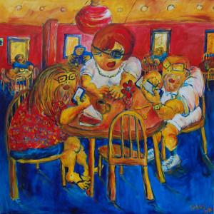 Molin Corvo gallery BRUNO HADJADJ Family Pastrami Break 2018 Acrylic on canvas 150X150cm