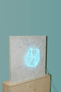 Molin Corvo gallery GABRIELE DAL DOSSO CUBO DI GABO–M³.M W1 - 2018 Carrara Statuary Marble and neon marble 60x60x6cm, neon 25x25cm Edition of 2 6000$ 1