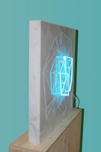 Molin Corvo gallery GABRIELE DAL DOSSO CUBO DI GABO–M³.M W1 - 2018 Carrara Statuary Marble and neon marble 60x60x6cm, neon 25x25cm Edition of 2 6000$ 2