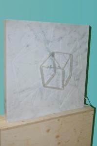 Molin Corvo gallery GABRIELE DAL DOSSO CUBO DI GABO–M³.M W1 - 2018 Carrara Statuary Marble and neon marble 60x60x6cm, neon 25x25cm Edition of 2 6000$ 4