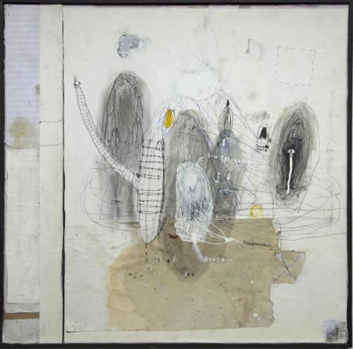 senza titolo 1,2020,mixte et collage su tela, 50x50cm